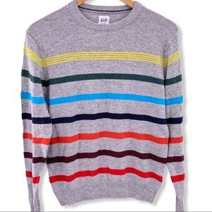 Gap Kids grey striped wool blend sweater XXL new